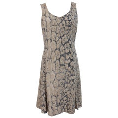 1980s Krizia Long Dress Animal Print Leopard Spotted Silk Vintage Beige Black