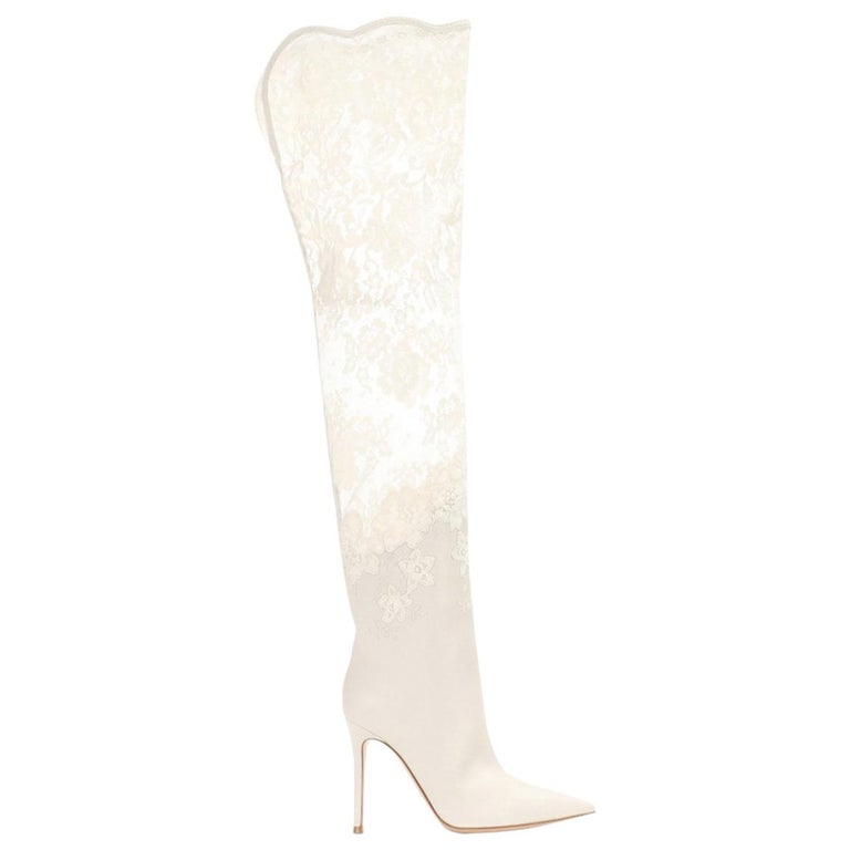 96d94dbcb Gianvito Rossi Debrah Lace and Leather Over-The-Knee Boots at 1stdibs