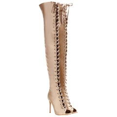 Gianvito Rossi Marie Lace-Up Satin Over-The-Knee Boots