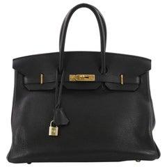 Hermes Birkin Handbag Black Clemence With Gold Hardware 35