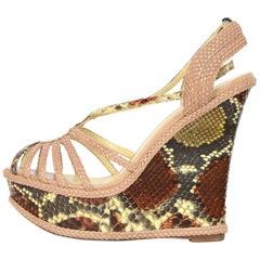 Alexandre Birman Beige/Brown Python Snakeskin Wedge Sandals Sz 7