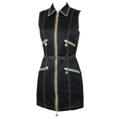 2000s Moschino Jeans Rockabilly Short Sheath Dress Black Sleeveless