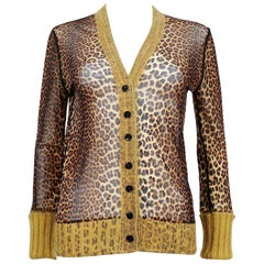 Jean Paul Gaultier Cheetah Print Cardigan with Angora Trim Size M