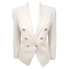 Balmain White Cotton Blend Textured Jacket with Decorative Gold Tone Buttons