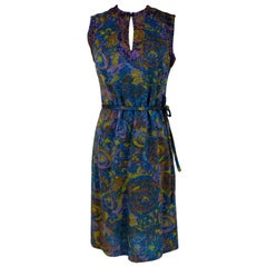 1960s Sorelle Fontana Day Laminate Dress Sleeveless Vintage Blue Wool