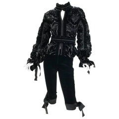 A/W 2002 LOOK#28 TOM FORD for YVES SAINT LAURENT BLACK VELVET & LEATHER JACKET