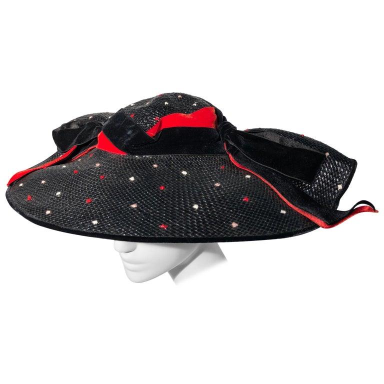 1950s Casper Davis Black Straw Wide Brimmed Hat W/ Red & Black Velvet Ribbons For Sale