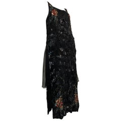 1920s French Tabard-Style Sequined Black Evening Gown W/ Color Sequined Flowers