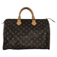 Louis Vuitton Monogram Speedy 35 Satchel Top Handle Handbag
