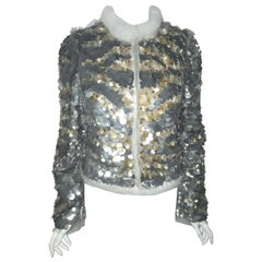 Roberto Cavalli Gold & Silver Tone Sequin Jacket Trimmed in Mink Fur
