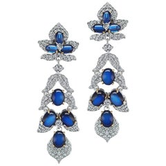 Synthetic Cabochon Sapphire Pave Cubic Zirconia Sterling Earrings