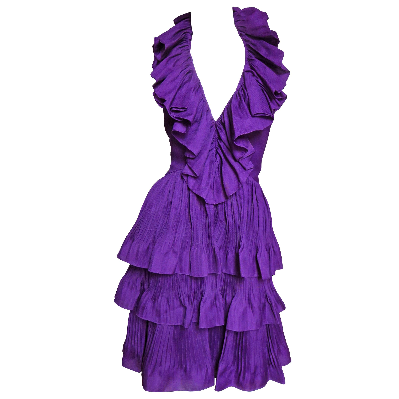 John Galliano for Christian Dior S/S 2009 Silk Ruffle Halter Dress