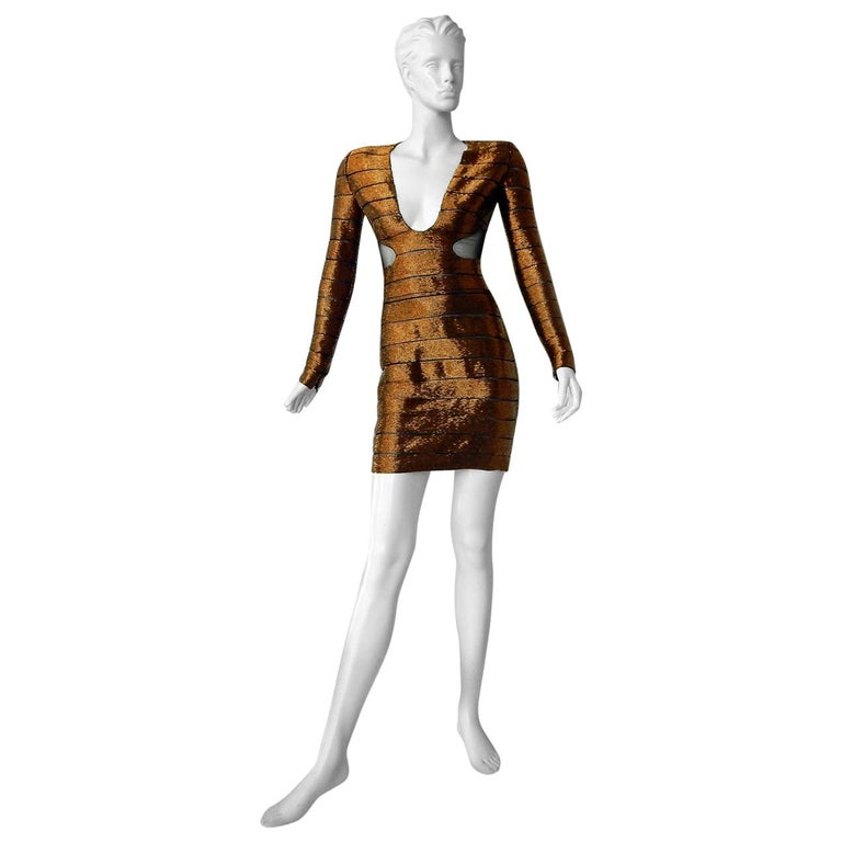 """Tom Ford """"WOW"""" Bronze Beaded Cut-Out Mini Evening Dress   New! For Sale"""