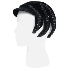 1950's Dolly Madison Black Velour Sequin Corded Novelty Spider Asymmetric Hat