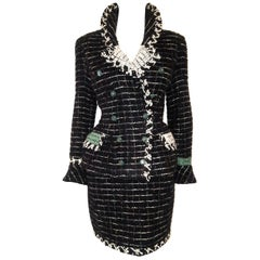 Chanel Black & White Metallic Tweed Check Double Breasted Skirt Suit