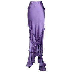YSL Purple Silk Maxi Peasant Skirt by Tom Ford, Fall 2003