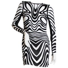 Tom Ford B&W Swirl Print Metal Mesh Dress