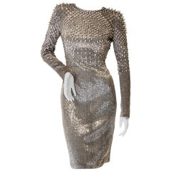 Tom Ford Silver Beaded and Studded Dress