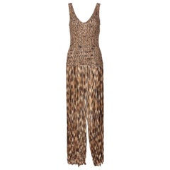 Salvatore Ferragamo Ombre Knit Silk Sleeveless Fringe Maxi Dress