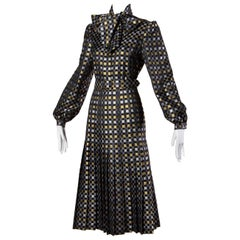 1970s Jill Richards Vintage Metallic Checkered Brocade 4-Piece Dress Ensemble