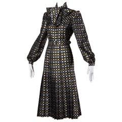 1970s Jill Richards Vintage Metallic Checkered Brocade 4-Piece Dress Ensemble