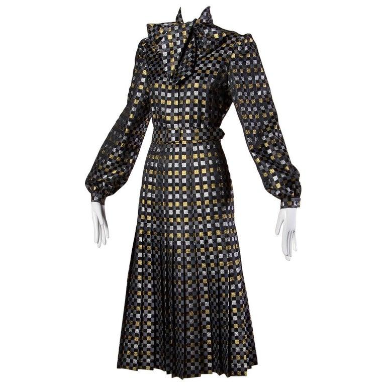 1970s Jill Richards Vintage Metallic Checkered Brocade 4-Piece Dress Ensemble For Sale