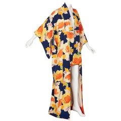Vintage Japanese Silk Multicolored Floral Maxi Kimono