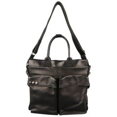 SURFACE TO AIR Black Leather Cargo Bag