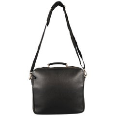 AGNES B. Black Leather Laptop Bag Briefcase