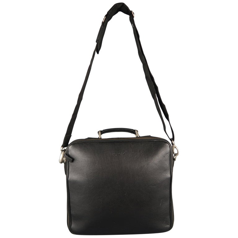 Agnes B Black Leather Laptop Bag Briefcase For