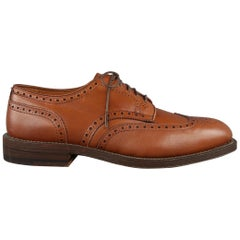 ALDEN Size 7 Tan Perforated Leather Wingtip Lace Up Shoes