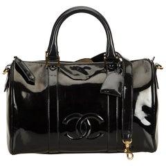 Chanel Black Patent Leather Boston Bag