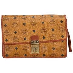 MCM Brown Visetos Leather Clutch