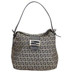 Fendi Gray x Black Zucchino Canvas Shoulder Bag