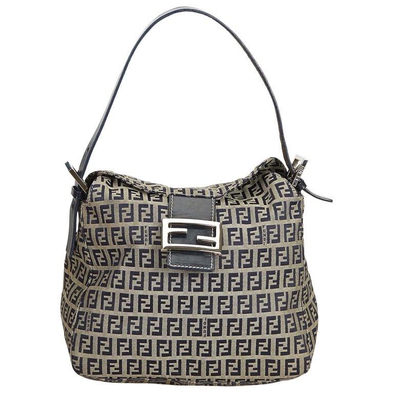 a3ad9be3203b Fendi Gray x Black Zucchino Canvas Shoulder Bag at 1stdibs