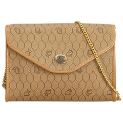 Dior Brown x Beige Honeycomb Coated Canvas Shoulder Bag