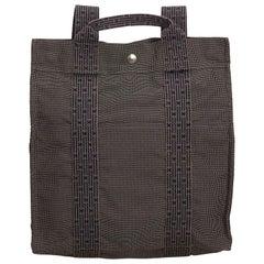 Hermes Gray x Dark Gray Herline Canvas Backpack PM