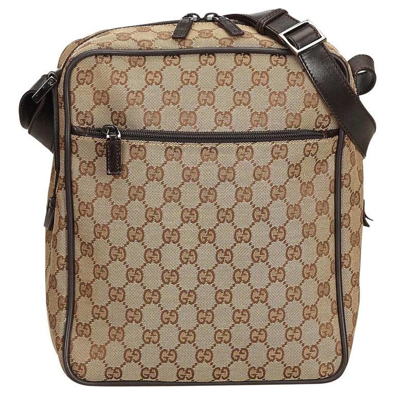 8da26a97b Gucci Brown Guccissima Canvas Crossbody Bag at 1stdibs