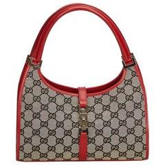 Gucci Gray x Red Guccissima Jacquard Jackie Hobo