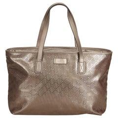 Gucci Brown x Gold Guccissima Supreme Tote Bag