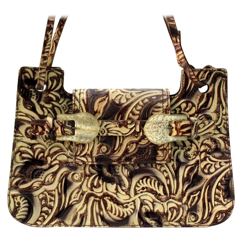 Fendi Embossed Natural Leather Vintage Bag