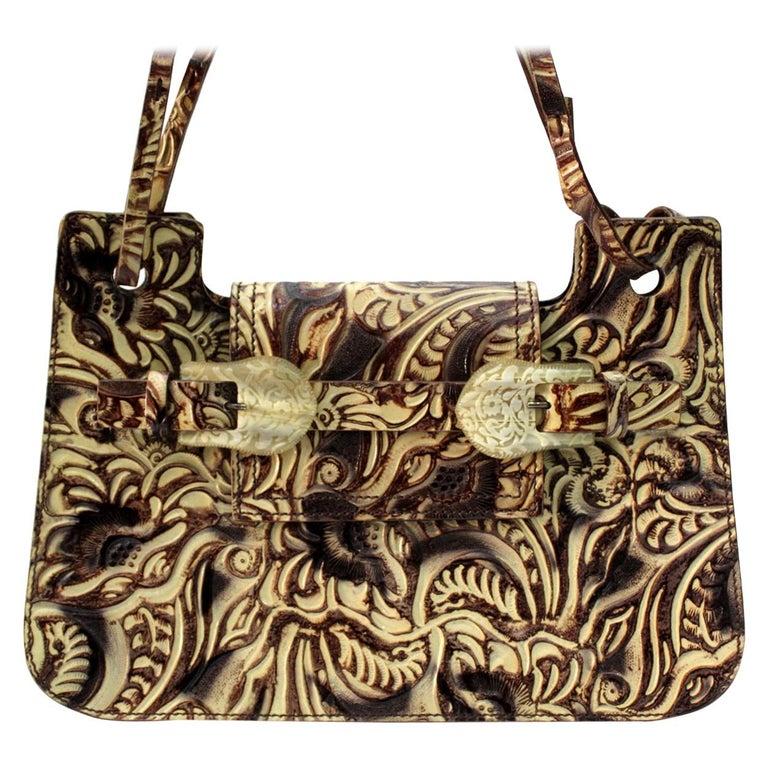 Fendi Embossed Natural Leather Vintage Bag For Sale
