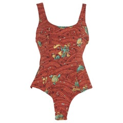 Hermes Vintage Brown Mosaic Print One Piece Swimsuit Size 38