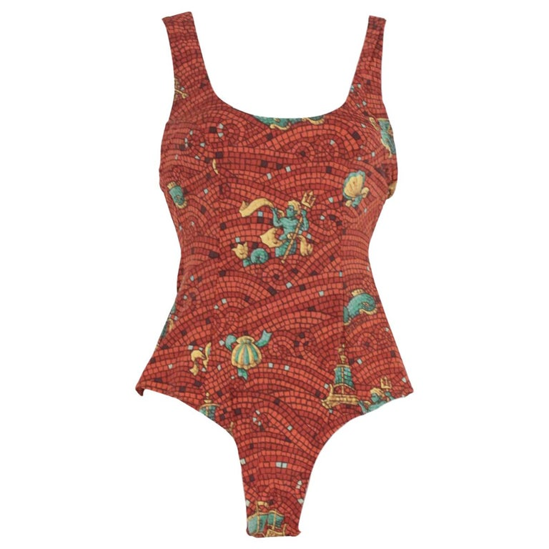 892a7a41804a8 Hermes Vintage Brown Mosaic Print One Piece Swimsuit Size 38 For Sale at  1stdibs