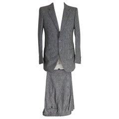 Brioni Pants Suit Prince Of Wales Pinstripe Wool Vintage Gray, 1990s