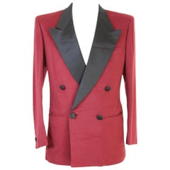 Brioni Jacket Double Breasted Tuxedo Smoking Wool Vintage Red, 1990s