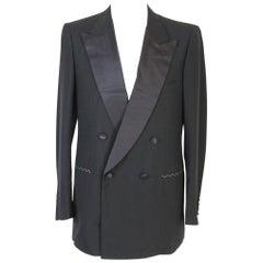 1990s Brioni Smoking Double Breasted Jacket Wool Vintage Black