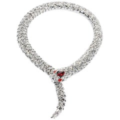 Simon Harrison Red Crystal Snake Necklace and Bracelet
