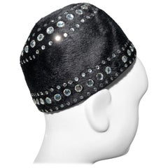 1960s Leslie James Black Felt Mod Hat W/ Rhinestone Embellishments