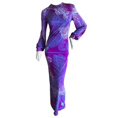 Emilio Pucci Vintage 1960's Silk Jersey Evening Dress for Saks Fifth Avenue
